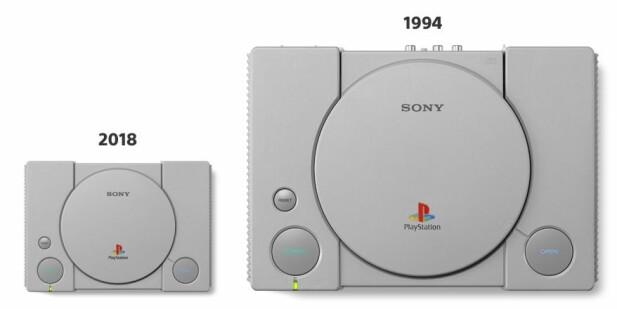 MINDRE: Så mye mindre er PlayStation Classic sammenlignet med originalen. Foto: Sony