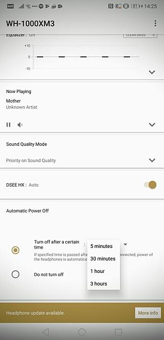 ENDELIG: Nå kan du bruke støyreduksjonen uten å høre på musikk i mer enn fem minutter. Om du vil, slår 1000XM3 seg aldri av automatisk. Foto: Pål Joakim Pollen