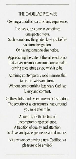 IKKE MÅTE PÅ: Det virker som om reklamefolk putter i seg atten Redbull og fjorten kaffe før de skal knipse seg fram til de lekreste ordene. Cadillac er intet unntak «over there».