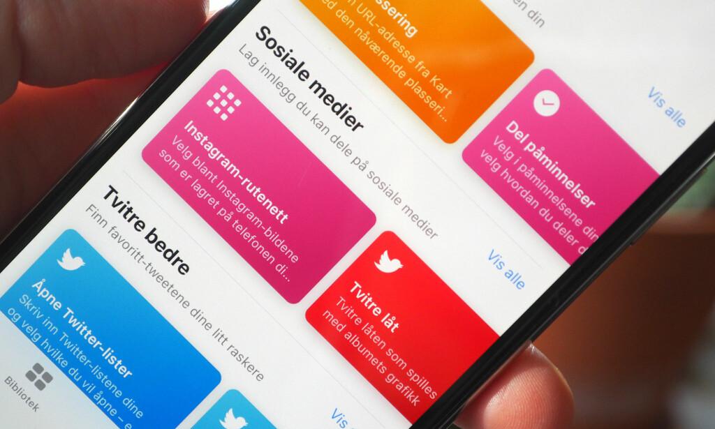 LAG SNARVEIER: Med Snarveier-appen fra Apple (tidligere Workflow), kan du lage egne snarveier eller velge blant ferdige løsninger. Foto: Kirsti Østvang