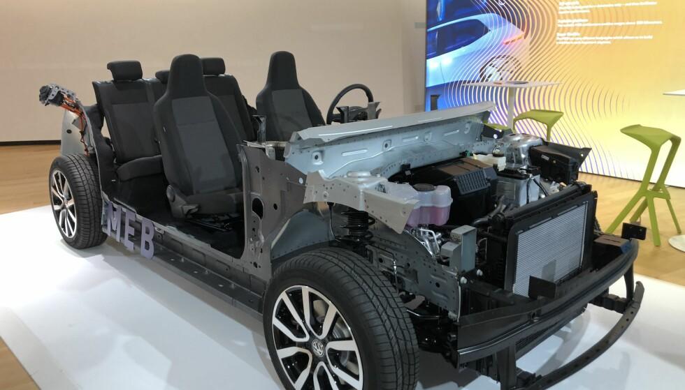 MEB: Den modulerbare elektriske plattformen skal dekke alle elbiler fra VW-konsernet, bortsett fra Porsche. Foto: Fred Magne Skillebæk.