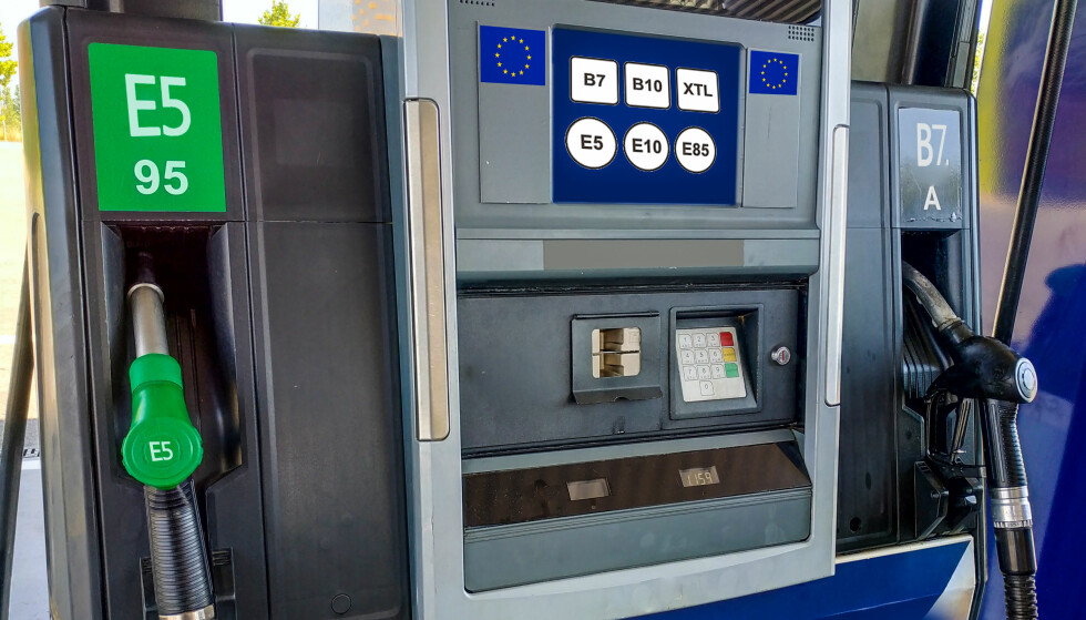 SLIK BLIR DE NYE MERKENE: 12. oktober innfører EU standardiserte merker for drivstoff. Dette skal også innføres i EØS-landene - inkludert i Norge - men arbeidet her er forsinket og forventes ikke å være klart for implementering før i 2019. Foto: Shutterstock/NTB scanpix