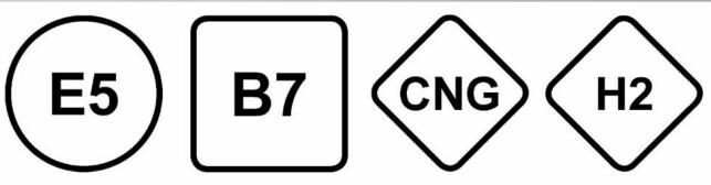SLIK BLIR DET: Eksempler på hvordan de nye, standardiserte merkene ser ut. Dette er fra det tyske standardiseringsselskapet DIN. E5 er bensin 95-oktan (5 prosent bioetanol), B7 er diesel, CNG er naturgass og H2 er hydrogengass. Foto: DIN