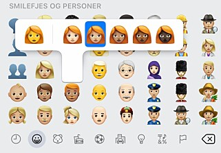 RØDT HÅR: Det er nå en ny emoji for rødhåret mann og dame, og trykk på den enkelte for å velge hudfarge. Skjermbilde: Kirsti Østvang