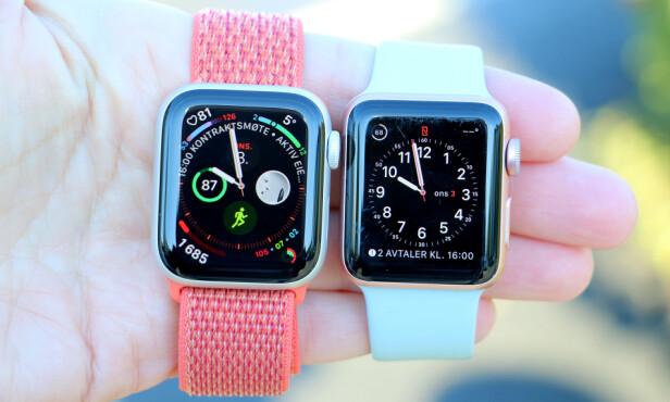 FLERE TILPASNINGSMULIGHETER: De nye urskivene til Apple Watch Series 4 (til venstre) har plass til flere komplikasjoner enn før, og de har igjen plass til mer informasjon i seg selv. Nå kan du også velge en kontakt som komplikasjon, og så trykke på han eller henne for å ringe eller sende melding. Foto: Kirsti Østvang