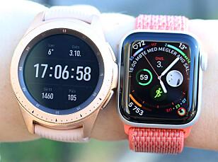RUND ELLER FIRKANTA: Samsung og Apple har valgt helt forskjellig tilnærming til sine smartklokker. Vi foretrekker firkanta skjerm fordi tekst og lignende ikke blir kutta når man blar nedover, men det er en smakssak. Foto: Kirsti Østvang