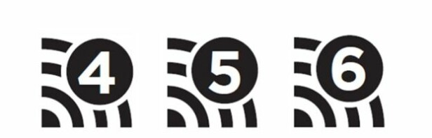 <strong>SLIK BLIR MERKINGEN:</strong> Tallet til høyre på oppkoblingen, angir hvilken standard den bruker. Illustrasjon: Wi-Fi-alliansen.
