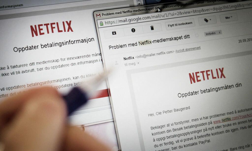 PHISHING: Falske e-poster er et for mange kjent fenomen. Likevel lar noen seg lure - og det kan koste dyrt. Foto: Ole Petter Baugerød Stokke