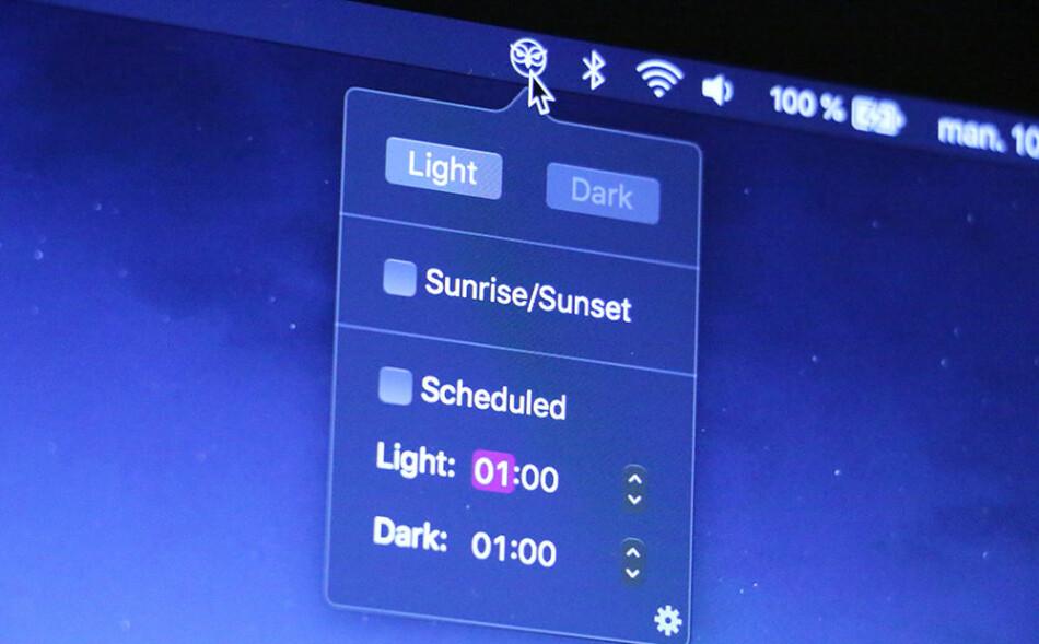 FOR NATTUGLER: Denne lille appen skrur på mørk modus når sola går ned. KIRSTI ØSTVANG