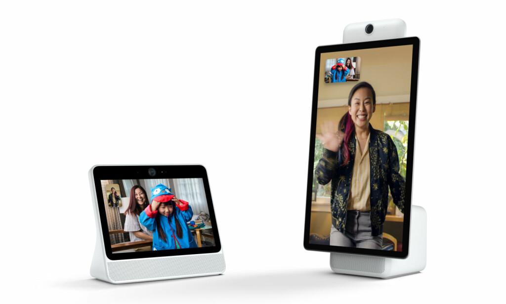 """TO STØRRELSER: Facebooks nye videochat-løsning kommer i to varianter, Portal og Portal Plus. Førstnevnte har 10,1"""" 720p-skjerm og koster 199 dollar, mens sistnevnte har 15,6"""" 1080p-skjerm og koster 349 dollar. Foto: Facebook"""