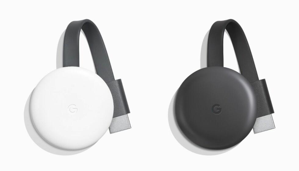 3. GENERASJON: Chromecast kommer i ny utgave og kan fås i to farger. Foto: Google