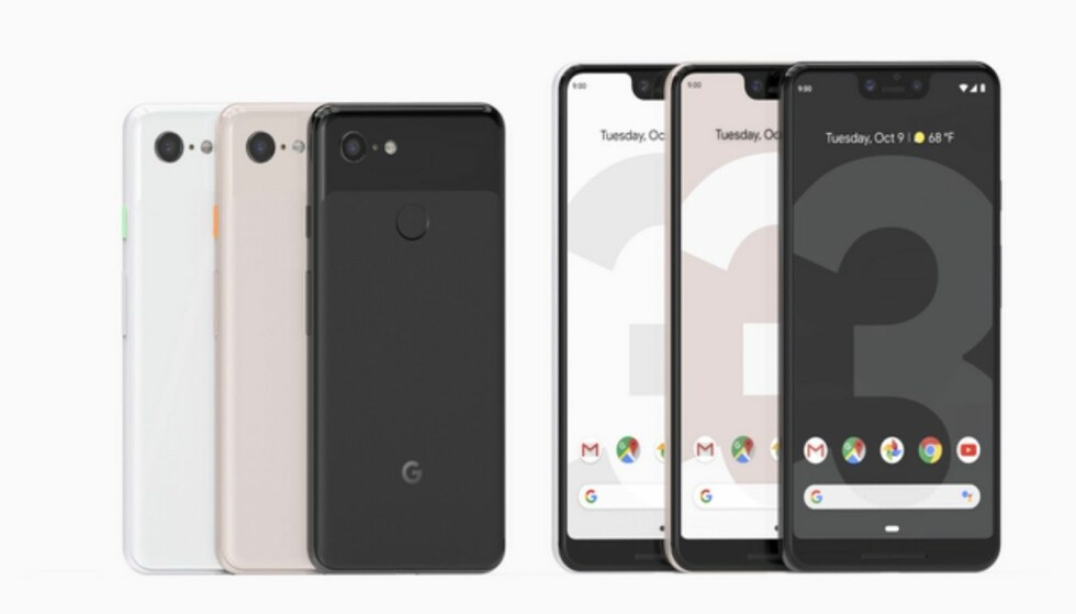 OFFISIELLE: Lekkasjene har vært mange, og her er Google Pixel 3 og Pixel 3 XL. Foto: Google