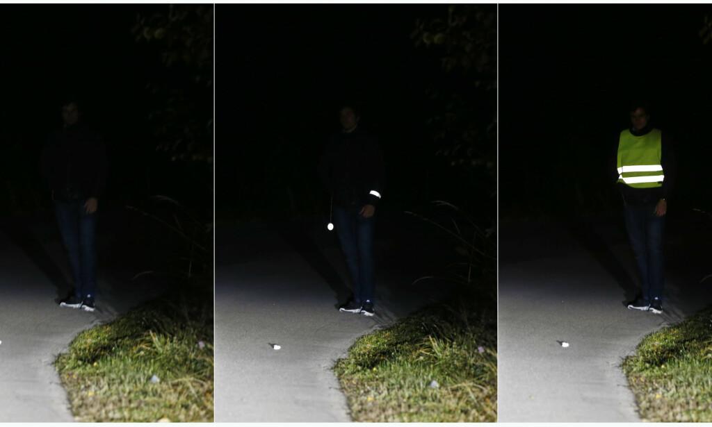 REFLEKSEFFEKT: Her ser du tre eksempler på hvordan refleksbruk påvirker synligheten din. Hva tør du? Foto: Håkon Mosvold Larsen/NTB scanpix.