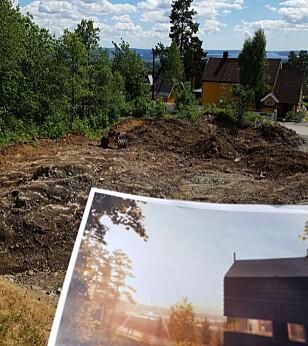 FANTASI OG VIRKELIGHET: Utsikten i reklamen for boligprosjektet stemmer ikke med realiteten. Foto: Forbrukertilsynet.