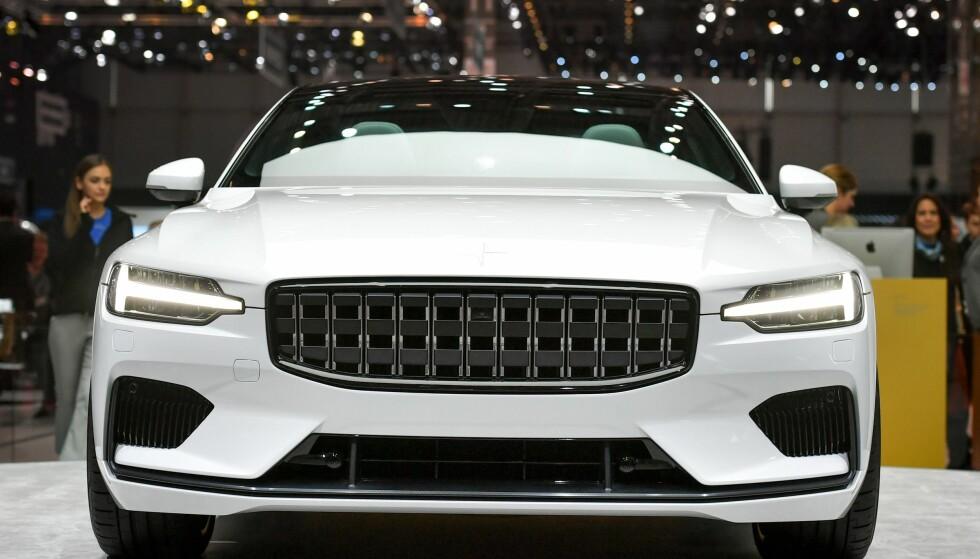NYHET: Det nye bilmerket til Volvo, Polestar, ble vist fram første dag av bilutstillingen i Genève i mars i år. Modellen på bildet er Polestar 1. Foto: AFP/NTB Scanpix.