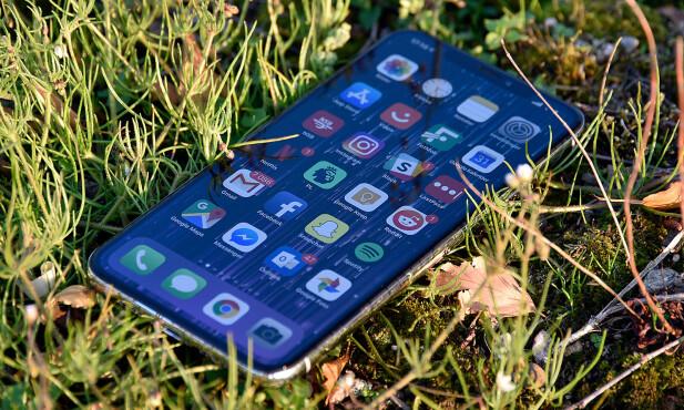 GOD INNSYNSVINKEL: Selv om lysstyrken avtar noe, har iPhone Xs Max-skjermen god innsynsvinkel. Foto: Pål Joakim Pollen