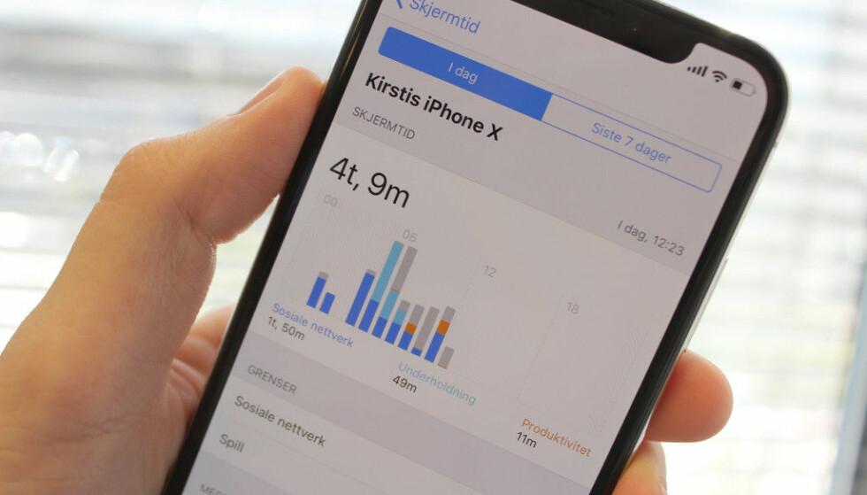 SKJERMTID: En av de store nyhetene i iOS 12 er en funksjon som viser deg nøyaktig hvor mye tid du bruker på iPhonen din. Foto: Kirsti Østvang