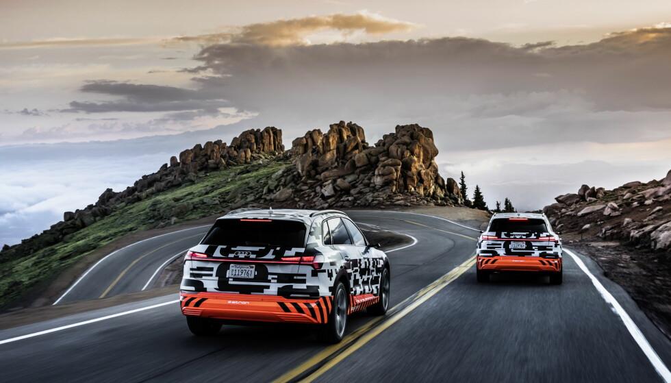 FÅR KJØRT SEG: Et større antall prototyper er blitt brukt under lengre tid for å utvikle den endelige utgaven av e-tron. Foto: Audi