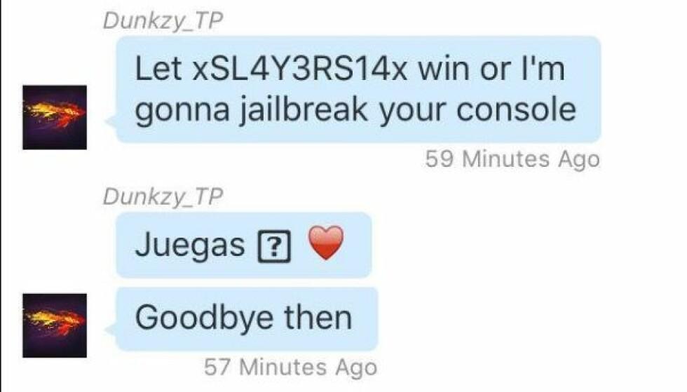 Meldingen som begynner med Juegas er tydeligvis alt som skal til for å knekke PlayStation 4 helt. Foto: NordLon/Imgur