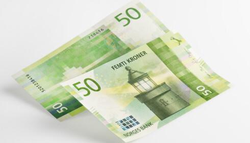 De nye 50-kronesedlene. Foto: Norges Bank