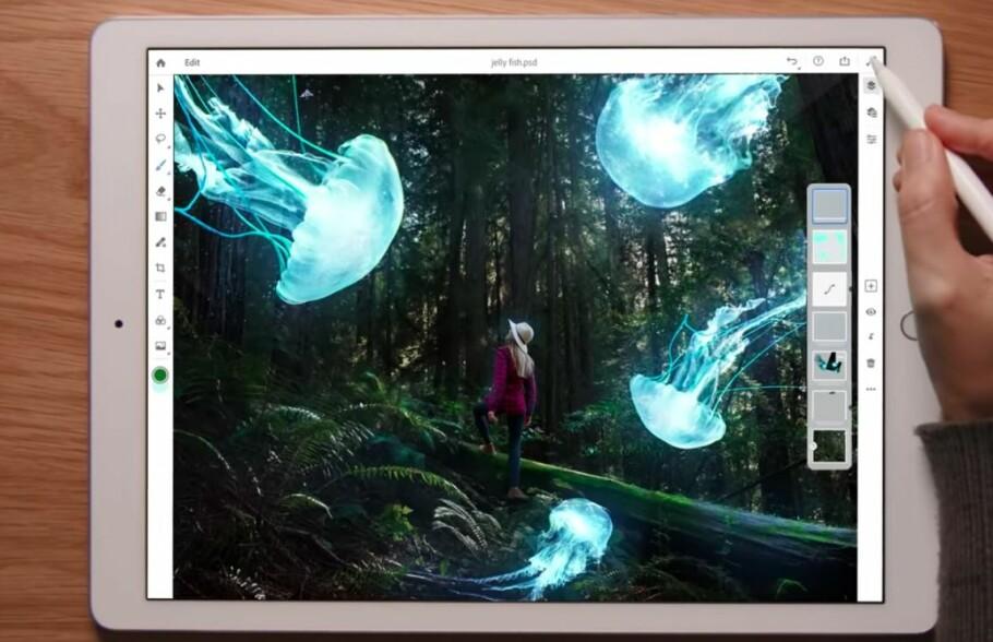 ORDENTLIG PHOTOSHOP PÅ IPAD: Til neste år får iPad-brukere endelig fullverdig Photoshop med muligheten for å redigere bilder i lag. Foto: Adobe