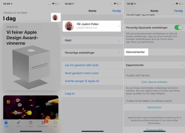 SJEKK ABONNEMENTENE: Trykker du som omtalt over (og under) kan du se om du har noen aktive app-abonnementer på iPhone. Skjermbilde: Pål Joakim Pollen