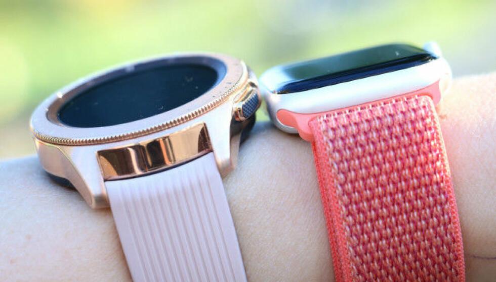 STØRRE: Galaxy Watch er større enn Apple Watch, og det er ikke nødvendigvis en bra ting. Foto: Kirsti Østvang