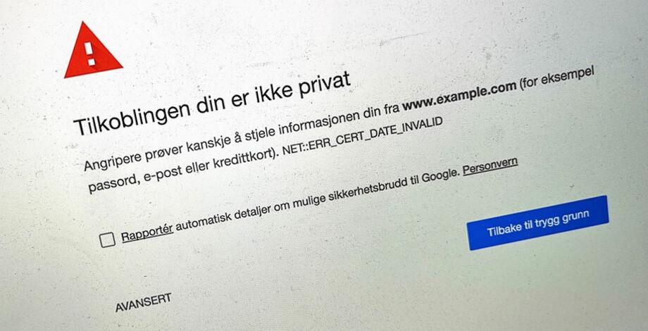 SVARTELISTE: I versjon 70 av Chrome, har Google valgt å svarteliste sikkerhetssertifikater utstedt av Symantec. Foto: Pål Joakim Pollen