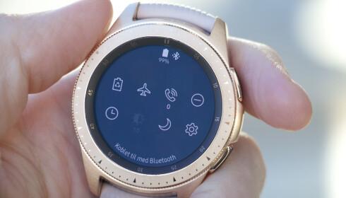 FULLADET: Galaxy Watch holder i cirka tre dager, pluss eller minus avhengig av hvilke funksjoner som er i bruk. Foto: Kirsti Østvang