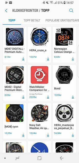 TRAUST TOPPLISTE: For å være litt fordomsfull, gjenspeiler topplista over klokkefronter kanskje også den typiske Samsung-smartklokkebrukeren; businessmannen med forkjærlighet for mekaniske klokker. Skjermbilde: Kirsti Østvang