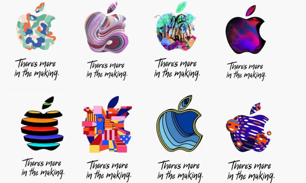 HVA BETYR DET: Vanligvis bruker Apple å sende ut den samme kryptiske invitasjonen til alle, men denne gangen har alle i stedet fått forskjellige logoer med sin helt spesielle design. Det er som vanlig flere som prøver å tolke hva det betyr. Foto: Apple