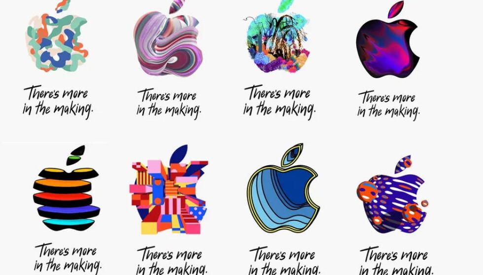 <strong>HVA BETYR DET:</strong> Vanligvis bruker Apple å sende ut den samme kryptiske invitasjonen til alle, men denne gangen har alle i stedet fått forskjellige logoer med sin helt spesielle design. Det er som vanlig flere som prøver å tolke hva det betyr. Foto: Apple