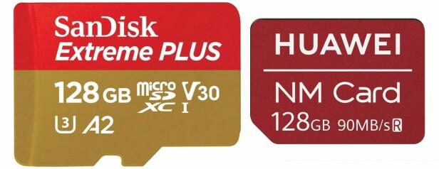 Størrelsesforskjell microSD og Nano Memory Card. Foto: SanDisk/Huawei