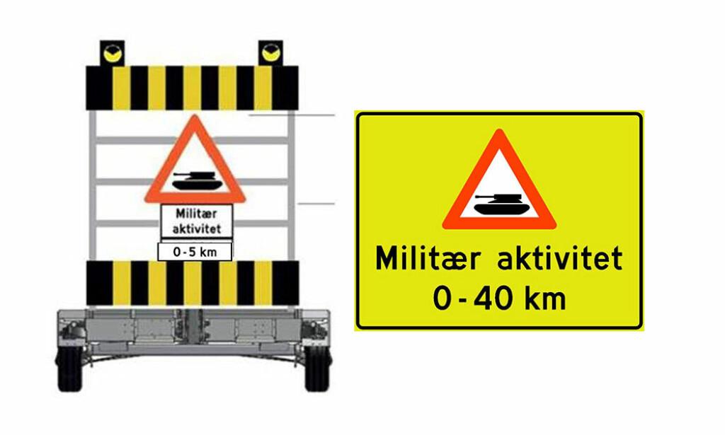 TRAFIKKSKILT: Trafikanter på Østlandet og i Midt-Norge kan i disse dager se et ny fareskilt langs vegen. Skiltet varsler om at du er i ferd med å kjøre inn i et område med militær aktivitet. Illustrasjon: Statens vegvesen