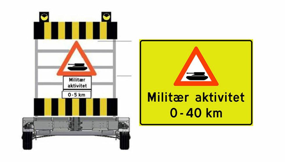 <strong>TRAFIKKSKILT:</strong> Trafikanter på Østlandet og i Midt-Norge kan i disse dager se et ny fareskilt langs vegen. Skiltet varsler om at du er i ferd med å kjøre inn i et område med militær aktivitet. Illustrasjon: Statens vegvesen