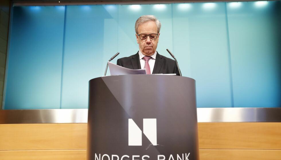 RENTA: Norges Bank holder som ventet styringsrenta uendret på 0,75 prosent. Foto: NTB scanpix