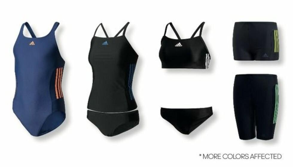 <strong>ADIDAS TILBAKEKALLER TRENINGSTØY:</strong> Adidas tilbakekaller badetøy med de klassiske Adidas-stripene - og oppfordrer til å umiddelbart stoppe å bruke det. Foto: Adidas