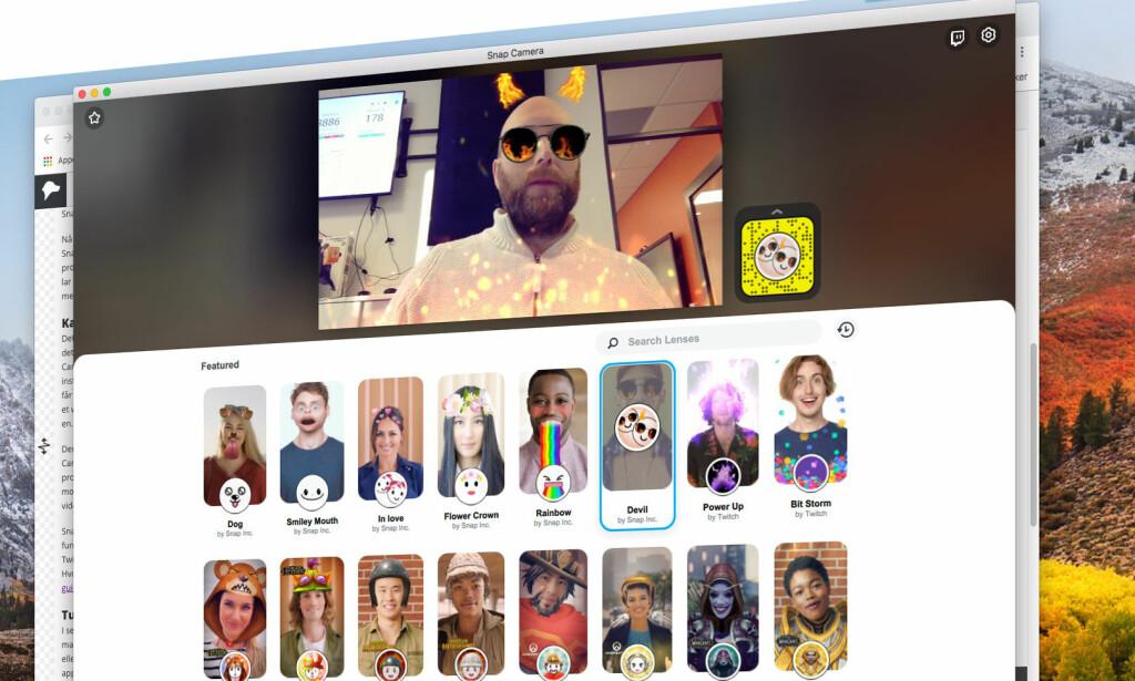 PÅ PC-EN: Glad i effektene fra Snapchat? Nå kan du bruke dem på Mac og Windows – i alle videochat-programmer. Skjermbilde: Pål Joakim Pollen