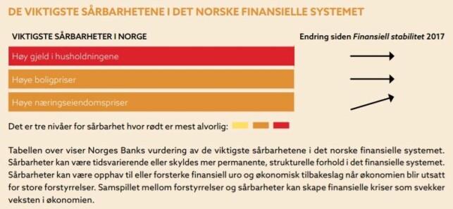 STOR SÅRBARHET: Gjeld i norske husholdninger har høyest alvorlighetsgrad. Foto: skjermdump/Norges Bank.
