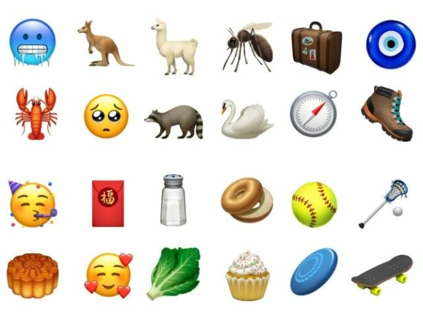 IKKE BARE NYE HÅRFRISYRER: Her er noen av de andre nye emojiene som kommer til iPhone og iPad.