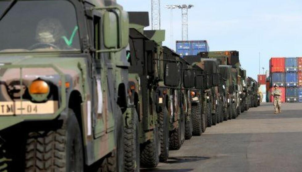 <strong>TRIDENT JUNCTURE:</strong> Vær obs på militære kolonner i dag. Foto: Statens vegvesen