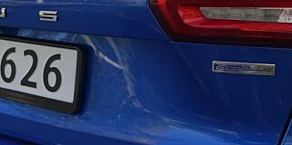 DIESEL: Ecoblue betyr ikke nødvendigvis blårøyk, selv om bilene med dette emblemet går på diesel. Foto: Rune M. Nesheim