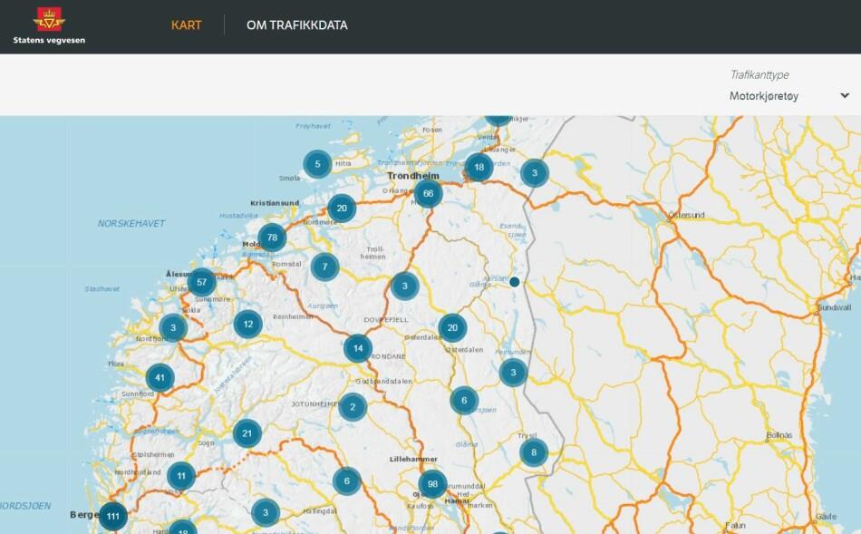 SE TALLENE DER DU BOR: Slik ser kartet hvor du snart kan sjekke antall trafikkanter i ditt nærområde. Foto: skjermdump.
