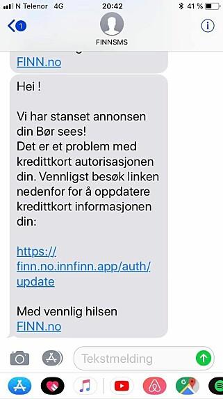 SVINDEL-SMS: Slik blir Finn-brukerne forsøkt svindlet. Foto: Privat