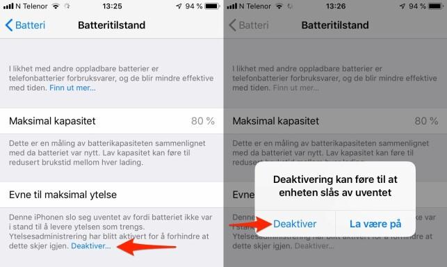 DEAKTIVER: På en kollegas iPhone 6S har ytelsesadministrering blitt aktivert fordi batteriet er dårlig. Er batterihelsen bra nok, vil du ikke få opp dette valget. Skjermdump: Berit B. Njarga