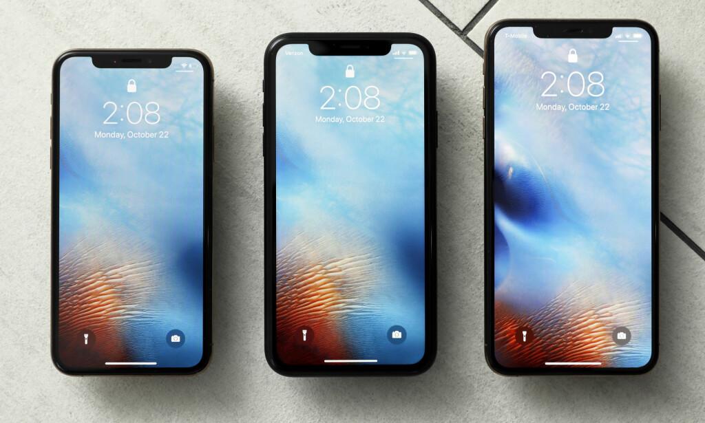 IPHONE: Dette er årets iPhone-trio, samtlige med Lightning-kontakt. Foto: AP Photo/Richard Drew
