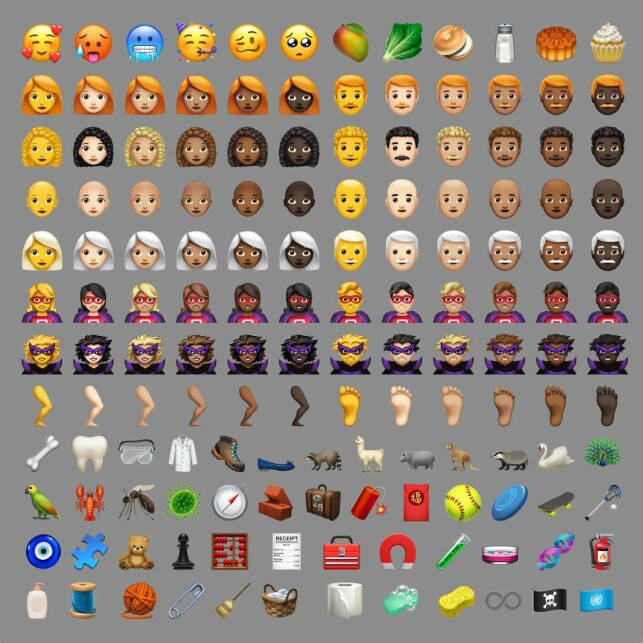 158 NYE EMOJIER: Her er de nye emojiene Apple har introdusert i iOS 12.1. Foto: Emojipedia/Apple