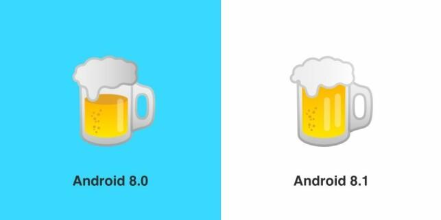 ØL PÅ ORDENTLIG: Hva tenkte Google på med øl-emojien i Android 8.0? Foto: Emojipedia/Google