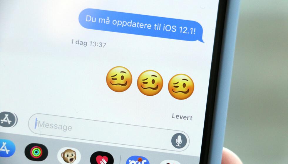 FYLLAFJES: Endelig kan du bruke en emoji for å fortelle andre at du er ... Svimmel? Forelska? Full? Foto: Kirsti Østvang