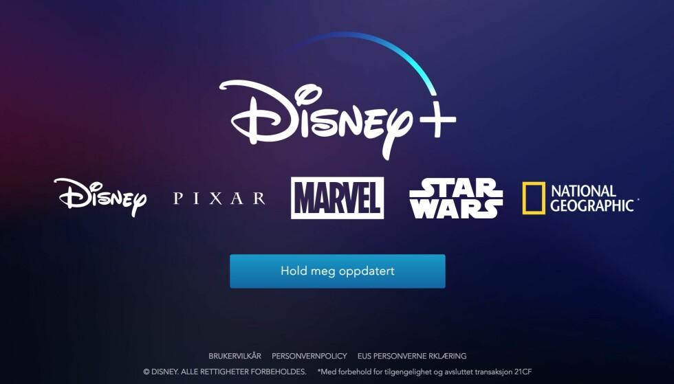 LANSERER EGEN STRØMMETJENSTE: Disney+ vil se dagens lys i 2019 og blir sannsynligvis den eneste strømmetjenesten med Disney-titler etter det. Skjermbilde: Pål Joakim Pollen/Disneyplus